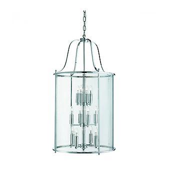 Lámpara Colgante Victoriana De 12 Luces, En Cromo Y Vidrio.