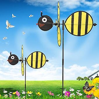 Large Bee Windmill Whirligig Wind Spinner Home Yard Garden Decor