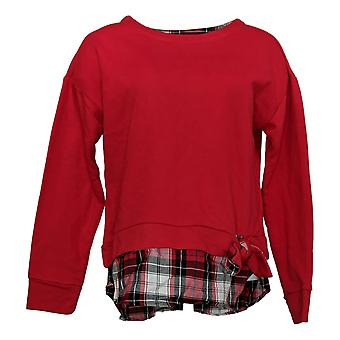 Izod 2-Fer Sweatshirt Women's Tie Front Pull Over Red