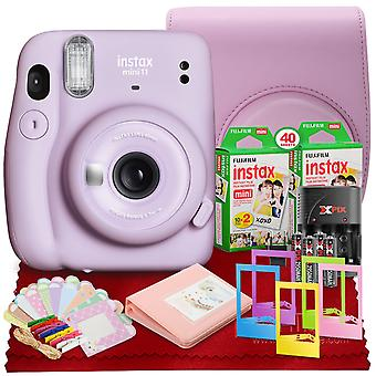Fujifilm instax mini 11 instant film camera (lilac purple) with fujifilm instax mini twin film (40 exposures), accessory case and accessories bundle