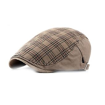 Plaid Pattern Men Breathable Cotton Newsboy Cap Soft Material Fit Cabbie Hat For Spring And Autumn 5 Colors