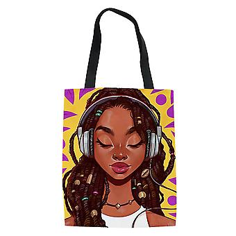 African Girl Women's Shopping Bag Grocery Tote Handbag