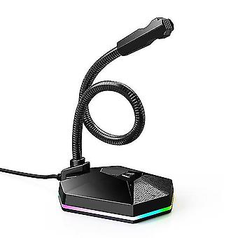 Yeni bilgisayar usb mikrofon rgb ışıklı bükülebilir mikrofon sürücüsüz sesli sohbet video konferans mikrofonları