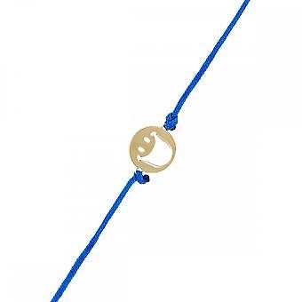 Smiley Vermeil Yellow cord bracelet and blue cord 'apos;Happy'apos;