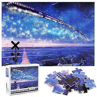 1000Pcs تخفيف الضغط بانوراما الألغاز التعليمية اللعب، بانوراما القطار بين النجوم
