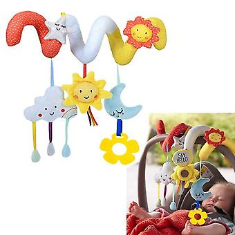 Cartoon Star Moon Sun Baby Spiral Toy Cute Stroller Hanging Toy With Mirror Bell Bb Device Plush Activity Sipral