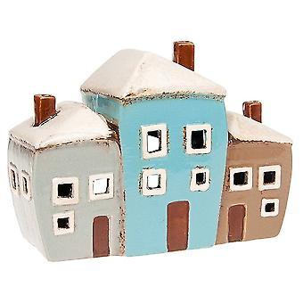 Joe Davies Village Keramik 3 Hus Keramisk värmeljushållare
