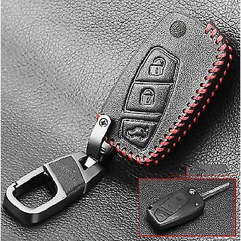 Nahka-avain, auton hälytys 3-painikkeilla, taitettava kaukosäädin, peitepidike