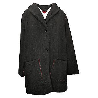 Susan Graver Kvinders (XXL) Reversibel fleece Coat Sort A383194
