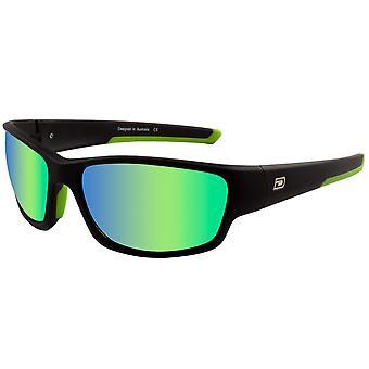 Dirty Dog Sport Chain Sunglasses - Black / Green Fusion Mirror