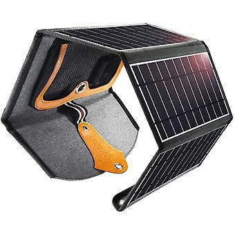 Solar Charger 22W, potente caricabatterie per pannelli solari pieghevoli a 4 pannelli portatili 2 porte USB per iPhone X, iPad Air / iPad Pro, Galaxy S10 S9 S8, Huawei P30 Pro e Tablet, ecc.(Nero)