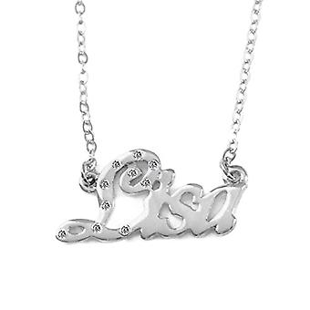 """L Lisa - 18-carat White Gold Plated Necklace, with Customizable Name, Adjustable Chain of 16""""- 19"""", in Regal Packaging"""