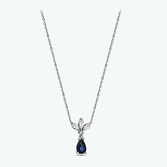 safir diamant halskjede