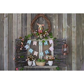Easter Backdrops For Photography Spring Flowers Rabbit Eggs Bucket Gray Floor