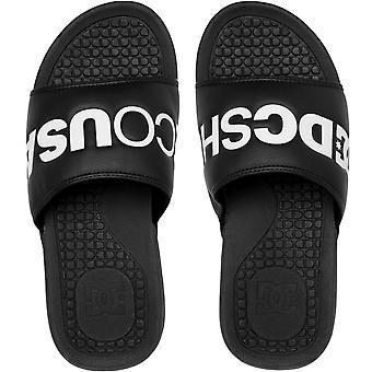 DC Shoes Mens Bolsa SE Beach Sandalias de Verano Tangas Sliders Slides - Blanco/Negro