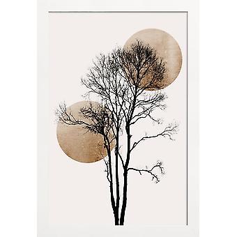 JUNIQE Print - Zon en Maan Verbergen Goud - Abstract & Geometrische Poster in Crème Wit