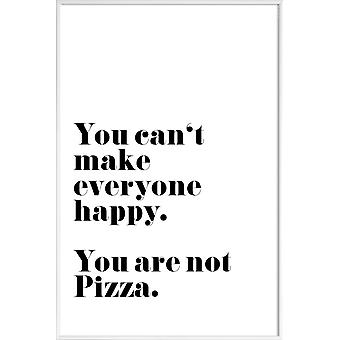 JUNIQE Print - Pizza - Citat & Slogans Affisch i svartvitt