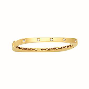 18k gult guld glänsande med diam. 4.8mm hög polsk gångjärn kvadrat .66 Dwt Diamant manschett stapelbar Bangle Armband Smycken