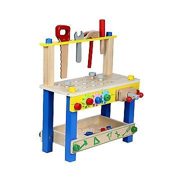 1%キッズ教育ツールキッド's木製ツールベンチおもちゃふりプレイ幼児のための創造的な建物セットの高さの調整可能なワークショップ