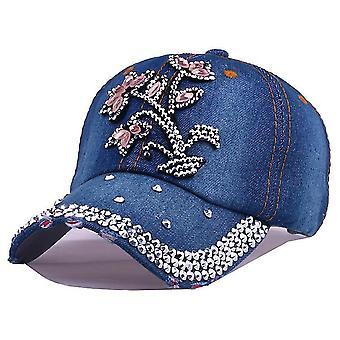 יהלום ג'ינס בייסבול כובע מסמרות פרח רקמה כובעי סנאפבק