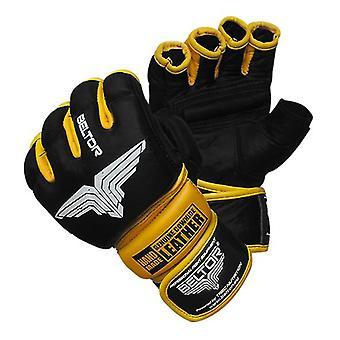 Beltor MMA Handschuhe Leder - Größe XL - schwarz mit gelb