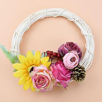 White Rattan Ring Artificial Garland Dried Flower