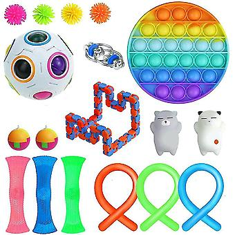 18 stuks Extrusie Fidget Toys Set Push Pop Bubble Tpr Noodle Strings Stress Relief Toys