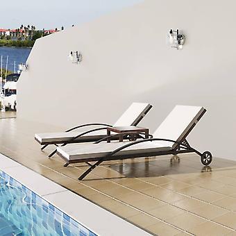 כיסאות נוח vidaXL עם שולחן פולי ראטאן בראון