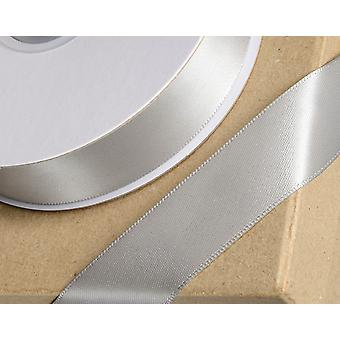 25m Silver 10mm Wide Satin Ribbon for Crafts