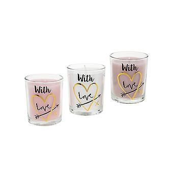 LAST FEW - Small Votive Candle with Wording: With Love