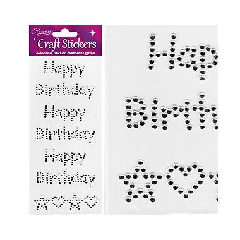 Pakke med tre Happy Birthday sølv Jewel Letter klistremerker for håndverk