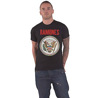Ramones T Shirt Full Colour Seal Band Logo nya officiella Mens Black