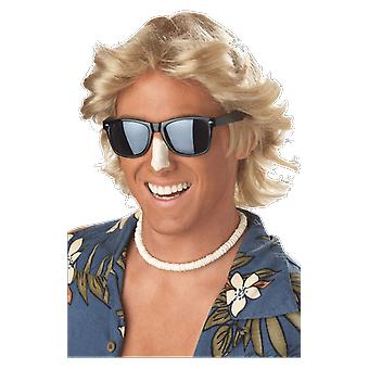 Mens 70s Flick Blonde Surfer Wig Fancy Dress Costume Outfit Accessory
