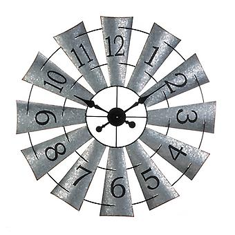 Accent Plus Galvanized Metal Windmill Wall Clock, Pack of 1