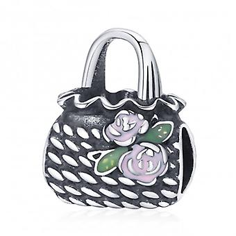 Sterling Silver Charm Woven Handbag - 7185