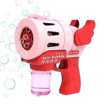 Nya Kids Angle Wing Magic Bubble Machine Sommarsimleksaker Bröllopstillbehör Födelsedag (Rosa)