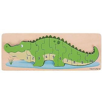 Wooden pegged puzzles wooden crocodile number puzzle