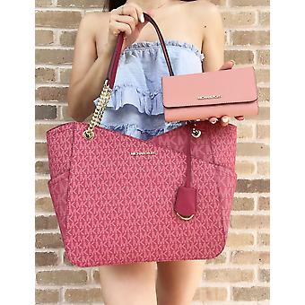 Michael kors jet set large chain tote berry pink mk + rose trifold wallet