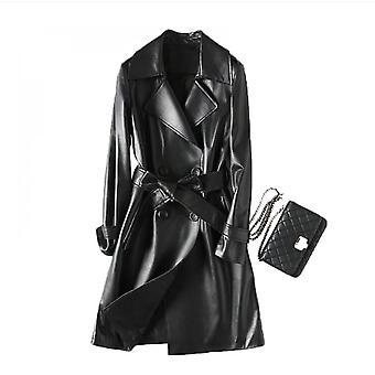 100% Natural Sheepskin Leather Jacket Long Lapel Women's Windbreaker