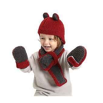 Talvi Lasten kuplahattu Tyttö Tyttö Huivi Hansikas hattusetti Lasten neulottu hattusetti paksuntaa lämmintä söpöä korvan pomia