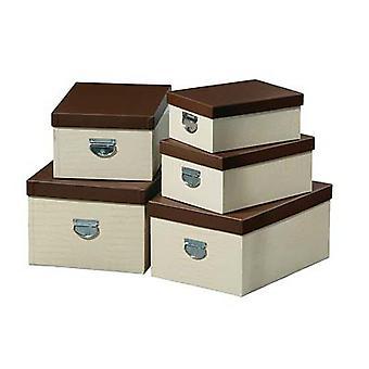 Conjunto de 5 agregado familiar creme Mock Croc caixas de armazenamento