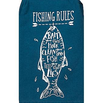 Kay Dee Fishing Rules Bait Your Own Hook Flour Sack 26 Inch Kitchen Dish Towel