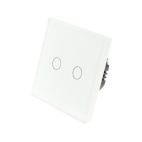 I LumoS White Glass 2 Gang 1 Way Remote & Dimmer Touch LED Light Switch