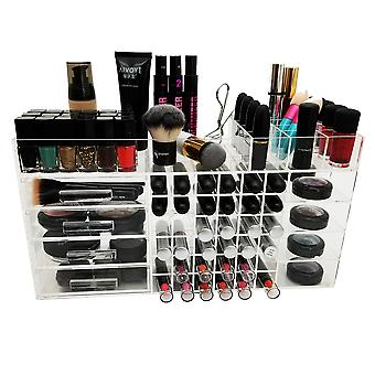 OnDisplay Deluxe Handmade Cosmetic Makeup Storage Case Display - Perfect for Vanity, Bathroom Counter, or Dresser