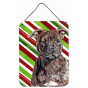 Staffordshire Bull Terrier Staffie Candy Cane Christmas Wall or Door Hanging Pri