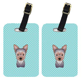 Pair of Checkerboard Blue Yorkie Puppy Luggage Tags