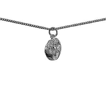 Zilveren 9x10mm Edinburgh Castle hanger met een curb Chain 24 inch