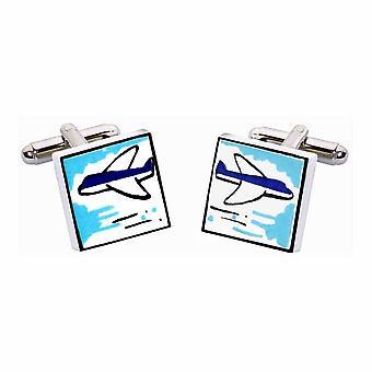 Aeroplane Cufflinks by Sonia Spencer, in Presentation Gift Box. Plane, Jet