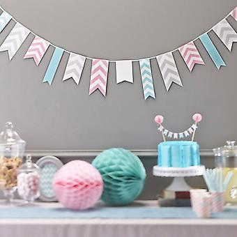 Chevron Paper Party Bunting - 3.5m Wedding Pink Grey Turquoise / Mint Green