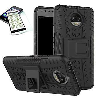 Hybridi tapauksessa pussi ulkouima 2 kpl musta Motorola Moto G5 kansi + lasi